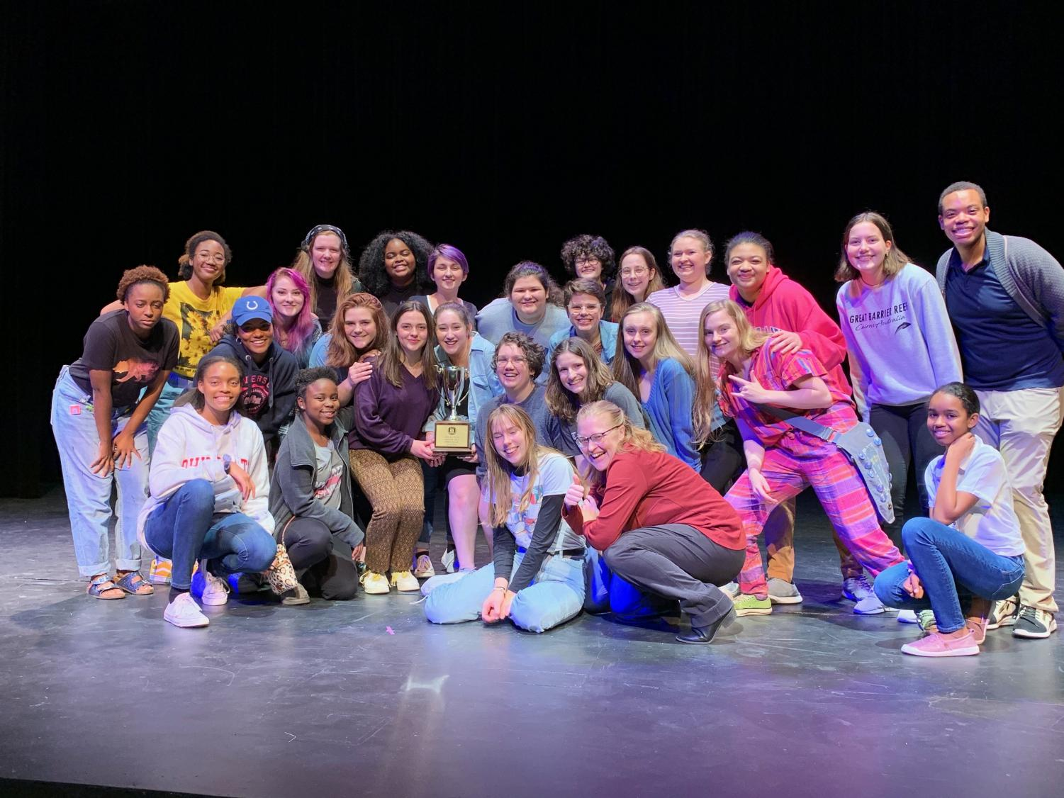 The cast of the Pink Ladies wins 1st place at the GISA Regional One Act Competition