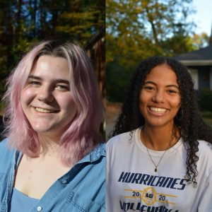 Earth and Sky Goddesses. Lucy Shuker '21 (left) and Trinity Yamamoto '21 (right)