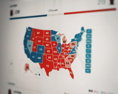 The electoral college map filled in with the projected winner of each state